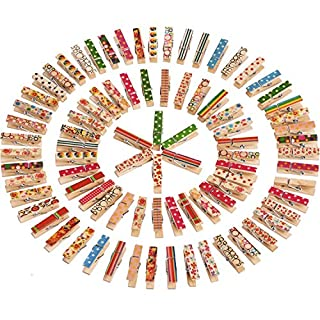 Mini Craft Pegs Wooden Clothespins, Assorted Colors, 100 Pieces