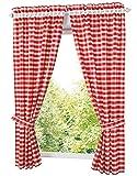 BAILEY JO Lot de 2Pcs Rideaux Demi-Transparent HxL/120x80cm Tissu en Treillis Rouge 2 Embrasses Passe Tringle Décoration de Fenêtre