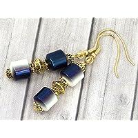 Orecchini in acciaio Venezia con perle in ceramica bianche e blu per galvanotecnica