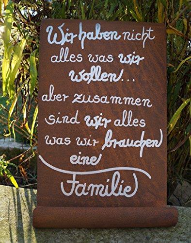 Edelrost Tafel Wir Haben Nicht Alles.Gedichttafel Schild Spruch Metall Wandschmuck