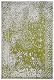Moderner Teppich Vintage my Milano 573 grau, rot, gelb, shabby look,used look , flachgewebe (77 x 150 cm, MIL 573 grün)