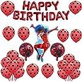 Geenber Ladybug Set de Globos Globo de Papel de Aluminio Suministros de decoración de Fiesta de Feliz cumpleaños para Ladybug