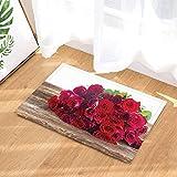 fuhuaxi Valentinstag Badeteppich auf Einem Holztisch mit Einem Strauß Rosen romantische Rutschfeste Fußmatte Badezimmermatte 40x60CM