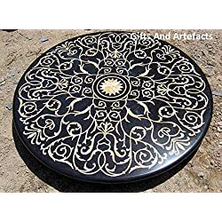 "Royal mesa de comedor superior 48""redondo de mármol negro Royal diseño Inlay Pietra Dura arte"