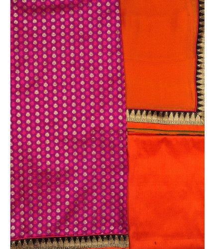 Exotic India Banarasi Salwar Kameez Fabric with All Over Booties and Brocade...