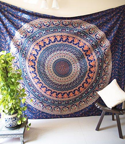 folkulture Vintage Valor Mandala Tapisserie Bohemian Hippie Wandbehang Indian Queen Size Boho Art Elefant Tagesdecke Bettwäsche Decke für Schlafzimmer Elefant Karte Poster