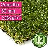 Kunstrasen Rasenteppich Greenlife für Garten - Florhöhe 30 mm - Gewicht ca. 2369 g/m² - UV-Garantie 12 Jahre (DIN 53387) - 4,00 m x 4,50 m | Rollrasen | Kunststoffrasen