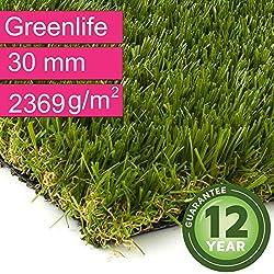 Kunstrasen Rasenteppich Greenlife für Garten - Florhöhe 30 mm - Gewicht ca. 2369 g/m² - UV-Garantie 12 Jahre (DIN 53387) - 2,00 m x 0,50 m | Rollrasen | Kunststoffrasen