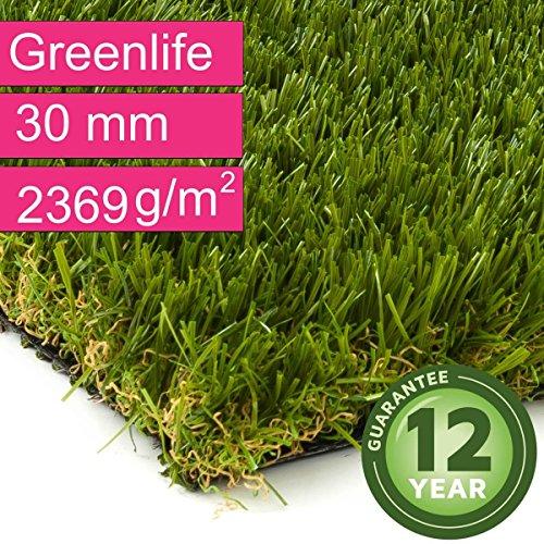 Kunstrasen Rasenteppich Greenlife für Garten - Florhöhe 30 mm - Gewicht ca. 2369 g/m² - UV-Garantie 12 Jahre (DIN 53387) - 4,00 m x 2,50 m | Rollrasen | Kunststoffrasen