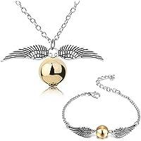 YouU 2 Pezzi Collana e Braccialetto Boccino d'oro Ali d'argento della saga per Fans Collezione di regali o decorazioni…