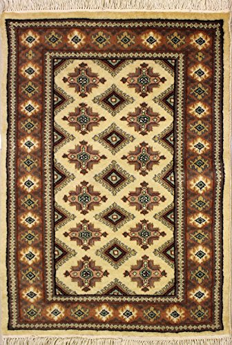 RugsTC 74 x 109 Bokhara Jaldar Area Rug with Silk & Wool Pile - Geometric Design Hand-Knotted in White,Beige,Green Colors | a 76 x 122 Rectangular Rug -