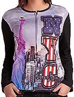 24brands - Damen Shirts Oberteil Pullover Digitaldruck Rundhals Reissverschluss- 2853