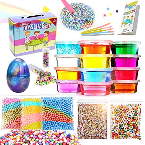 ESSENSON DIY Slime kit - Kinder Spielzeug, Schleim Selber Machen mit 12 Farben Crystal Clay Schlamm, Slime-Behälter, Schaum Bälle, Obst Gesicht Dekoration -