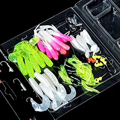 ZHUOTOP Sea Fish Lures Fishing Lures Crankbaits Hooks Minnow Soft Baits Tackle Pacakge 35 soft baits +10 hooks for Outerdoor Camping from ZHUOTOP