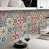 JY ART Fliesenaufkleber für Bad u. Küchenfliesen | Fliesen verschönern mit Klebefolie statt Fliesenfarbe | Sticker-Fliesen - Wanddekor | Nordische Vintage - 20CM*5M ZTBO007, 20cm*5m