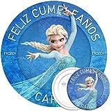 COMBO de oblea y chapa personalizadas, 19 cm y 77 mm, diseño de Elsa de Disney Frozen