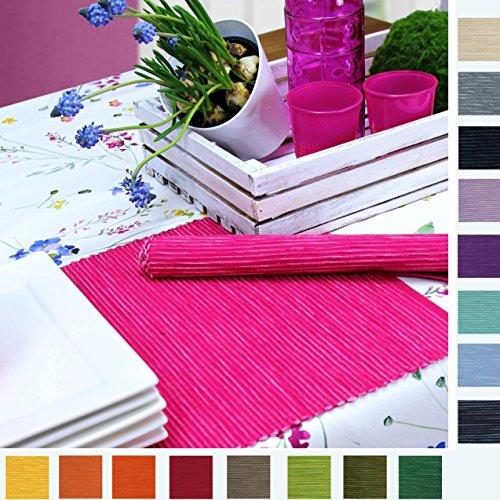 4 Tischsets BREEZE im SPARPAKCK von Sander Rips Baumwolle große Farbauswahl (14 - pink/fuchsia)