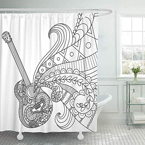 Sangeigt Doccia-Tende, Bath Curtain, Shower Curtain Home Postcard Decor Page Doodles Design of Guitar for Coloring Book for Adult And So On Stock Acoustic Shower Hooks Set Are Included
