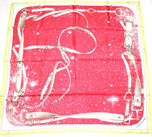 longchamp-seidentuch-89-x-89cm-mit-reitmotiv-rot-grun-scarve