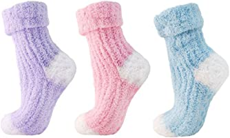 Womens Gorgeous Soft Fluffy Light Pink, and Blue Non Slip Bed Socks Slippers Fits Sizes UK 4-7