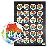 48 runde Aufkleber Sticker Regenbogen LGBT LOVE Text und Pride Herz Symbol für Lesbian Gay Bisexual Transgender oder ganz einfach als Herzaufkleber in rot blau gelb grün NUR DIE LIEBE ZÄHLT