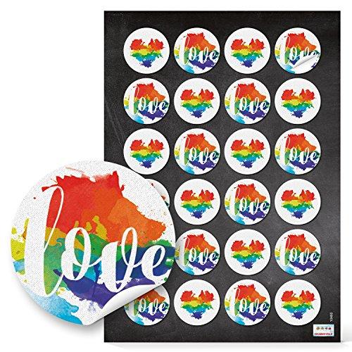 ticker Regenbogen LGBT LOVE Text und Pride Herz Symbol für Lesbian Gay Bisexual Transgender oder ganz einfach als Herzaufkleber in rot blau gelb grün NUR DIE LIEBE ZÄHLT (Gay-pride-dekorationen)