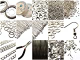 Large Jewellery Making Components Starter Kit inc Tools, Cords, Findings & Instructions