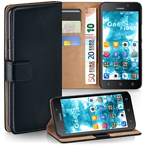 moex Huawei G Play Mini | Hülle Schwarz mit Karten-Fach 360° Book Klapp-Hülle Handytasche Kunst-Leder Handyhülle für Huawei G Play Mini/Honor 4c Case Flip Cover Schutzhülle Tasche