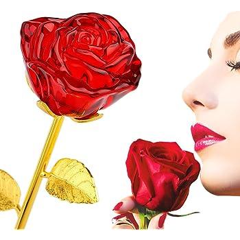 91b05d2bc37 zjchao Cristal Rose Fleur Plaqué en Or 24K Longue Tige Fleur Rose  Artificielle pour Anniversaire Saint Valentin Fête des Mères la Noël Cadeau  d Anniversaire ...