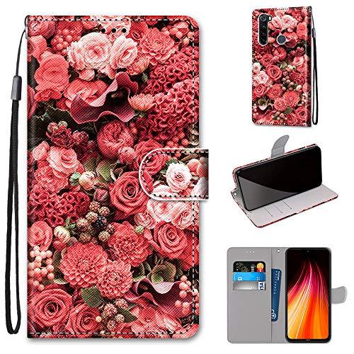 Miagon Flip PU Leder Schutzhülle für Xiaomi Redmi Note 8,Bunt Muster Hülle Brieftasche Case Cover Ständer mit Kartenfächer Trageschlaufe,Rose