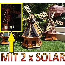 XL,windmühle,windmühlen garten, imprägniert + kugelgelagert 1 m groß in schwarz anthrazit dunkelgrau dunkel, mit SOLARBELEUCHTUNG