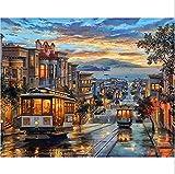 Diy pintura al óleo por número kit, pintura Paintworks Retro tranvía pared arte imagen dibujo con cepillos...