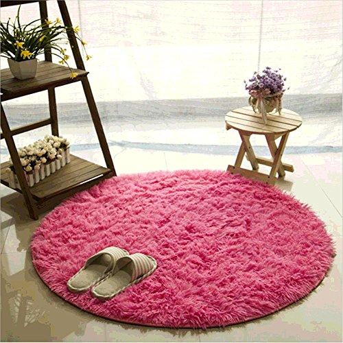 CAMAL Teppich, Runde Seide Wolle Material Yoga Teppich für Wohnzimmer Schlafzimmer und Bad (200cm, Rose Rot) - Seide Rose Teppich