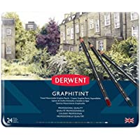 Derwent 700803 Graphitint Tinted Water-soluble Graphite Pencils Tin (Set of 24)
