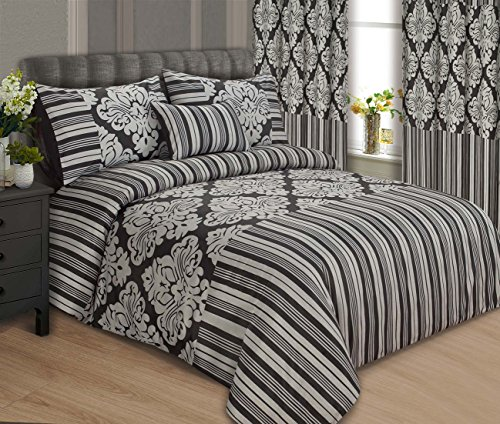 LUXURY ONYX BEDDING DUVET COVER / BED SET WITH PILLOWCASES AND CUSHION COVER , FAUX SILK – BLACK & SILVER – DOUBLE KING & SUPERKING SIZE (Super King, Black & Silver)