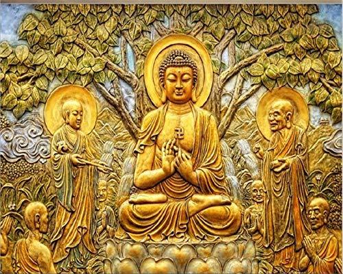 Wdbzd 3D Tapeten Linden-Buddha-Fernsehhintergrundwand-Wohnzimmerwand-Wandtapete 3D Der Kundenspezifischen Tapete Goldene Entlastung-300Cmx250Cm Linden Wallpaper
