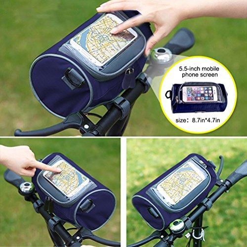 Bike Taschen, Zylindrische tragbar Front Lenkertasche mit Transparent Tasche. Dunkelblau