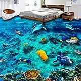 Weaeo Foto Wallpaper 3D-Unterwasserwelt Bodenfliesen Wandmalereien Badezimmer Kinder Schlafzimmer Bodenbeläge Tapeten Pvc Tragen Rutschfeste Home Decor 3D-200 X 140 Cm