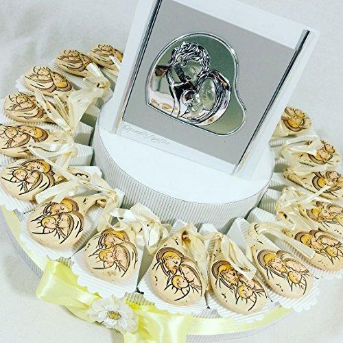Bomboniere battesimo pendente con centrale con immagine sacra famiglia torta bomboniera apr