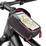 """IREGRO Bicicletta Borsa Ciclismo bici Top tubo manubrio Bag Phone Holder con visiera, adatto per il telefono mobile con dimensione inferiore a 6"""", impermeabile anteriore telaio borse (Rosso e nero)"""