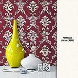 NEWROOM Tapete Rot Ornament Barock Vliestapete Creme Vlies moderne Design Optik Barocktapete Wohnzimmer Glamour inkl. Tapezier Ratgeber