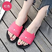fankou The Bathroom Has a Non-Slip Bath Slippers Summer Home Stay Indoor Slippers Thick Soft Bottom Plastic Cute Cat Cool Slippers Female,35, Red