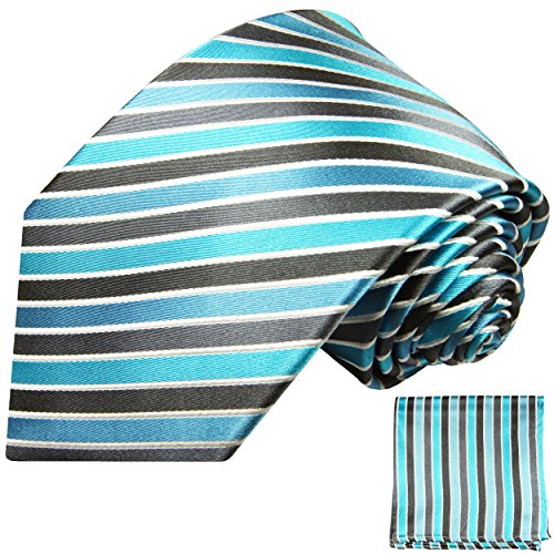 Cravate homme gris turquoise rayée ensemble de cravate 2 Pièces ( longueur 165cm )