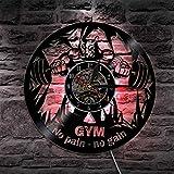ZJWZ Bodybuilding Vinyl Record Wall Clock Fitness Sport Declock Wall-Uhr-Bodybuilder Kein Schmerz kein Gewand für Fitness Gym Geschenk