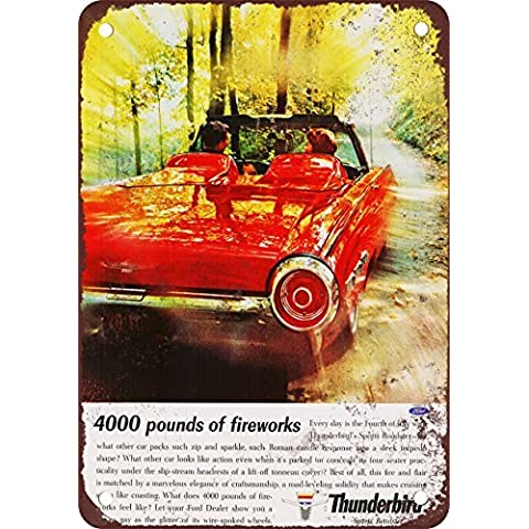 1962Ford Thunderbird Sport Roadster Look Vintage Riproduzione in metallo Tin Sign 17,8x 25,4cm