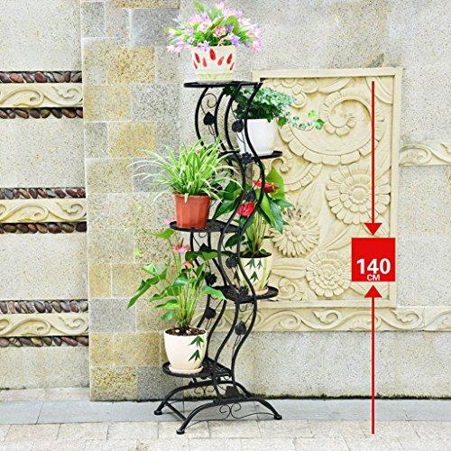 MILUCE Porte-Grenier en Acier Inoxydable à 3 Niveaux Balcon intérieur Support Anti-Rouille (Noir/Marron/Blanc) (Couleur : Noir)