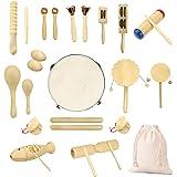 Ulifeme Jouet Musique Bois Bebe, 27 Pièces Instrument de Musique pour Enfant, Ensemble de Jouets 100% Bois Pur, Kit Rythmique