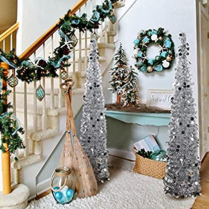 AerWo 1.5m (5ft) Árboles de Navidad Plegables de la Malla, Lentejuela regordeta Pop Up Artificial árbol de Navidad para la decoración de Navidad Decoración casera