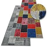 Teppichläufer Monsano | Patchwork Muster im Vintage Look | viele Größen | moderner Teppich Läufer für Flur, Küche, Schlafzimmer | Niederflor Flurläufer, Küchenläufer | anthrazit Breite 80 cm x Länge 350 cm