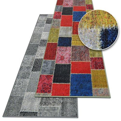 Teppichläufer Monsano | Patchwork Muster im Vintage Look | viele Größen | moderner Teppich Läufer für Flur, Küche, Schlafzimmer | Niederflor Flurläufer, Küchenläufer | bunt Breite 80 cm x Länge 150 cm